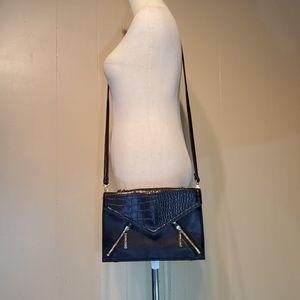 Olivia & Joy Croc Black Vegan Leather Crossbody